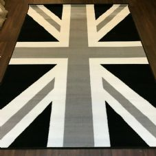 Rugs Approx 6x4ft 120x170cm Woven Backed Union Jack Black/Grey/Silver rugs Mats